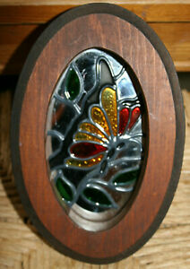"""VTG Small Oval Wooden Framed Stained Glass Butterfly Hanging Mirror 5 1/2""""x8"""""""
