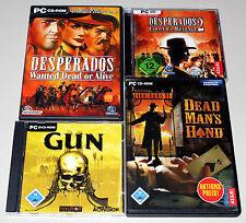 4 PC SPIELE SET WESTERN SHOOTER - DEAD MANS HAND & GUN & DESPERADOS 1 2 WANTED