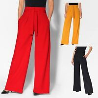 Womens Ladies High Waist Wide Leg Trousers Paper Bag Flared Leg Palazzo Pants
