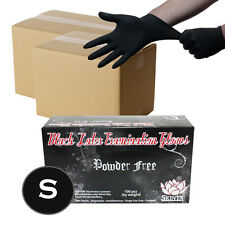 2000 Black Latex Powder Free Medical Exam Tattoos Piercing Gloves - Size Small