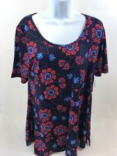 NWT LulaRoe Women's Blue/Pink Stretch Short Sleeve Perfect T Sz S