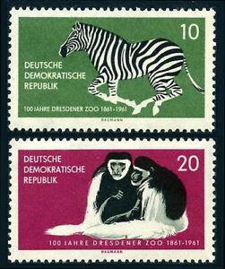 Germany DDR/GDR 552-553, MNH.Dresden ZOO.Zebra,Black & white Colobus monkey,1961