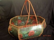 ~VINTAGE 50's 60's FLORAL HAND MADE CARD BASKET - RED ROSES - ROCKABILLY RETRO~