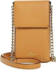 Kate Spade NY 256597 Womens North South Tan Leather Smartphone Crossbody Bag