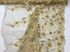 Gold 3D Floral Embroidery Beaded on a Mesh Lace- Sold by the Yard