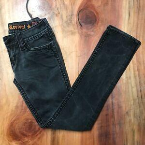 Rock Revival Women's 28 Jeans Straight Thick stitch Black Flap Stretch Denim JJ1