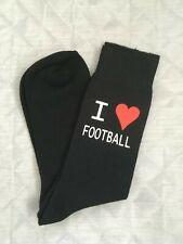 Fathers Day Gift I Love Football Mens Novelty Gift Vinyl Printed Black Socks