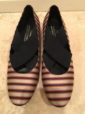 DONALD J PLINER Couture Sample Holli Silk Sand Navy Stripe Worn Once 6M Italy