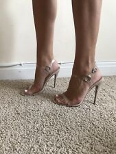 Size 7 Public Desire CHANELLE Nude Perspex Heels Shoes Sandals Strap Clear NEW
