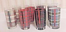 DRINKING GLASSES PLAID  RALPH LAUREN SET OF 8 TARTAN PLAID 4 DESIGNS