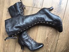 Clarks Indie Grunge Victoriana Laced Brown Leather Knee High Boots 4 37