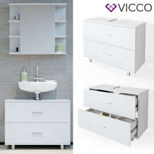 Waschbeckenunterschrank ILIAS Weiß Schublade Unterschrank Badezimmer VICCO