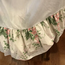 """Laura Ashley Cottage Rose Twin Gathered Bed Skirt 14"""" Drop Pink Green Floral"""