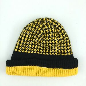 Black Yellow Houndstooth Pittsburgh Steelers Pirates Penguins Beanie Slouchie