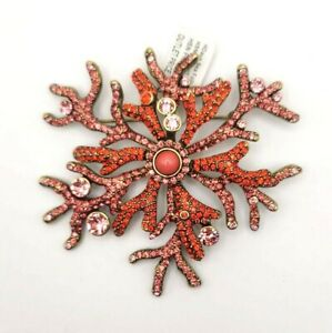 Heidi Daus Sea Folly Coral Designed Crystal Pin NWT