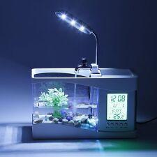 Mini Multi-functional LED Electronic Aquarium Mini Fish Tank Lamp Desktop SM
