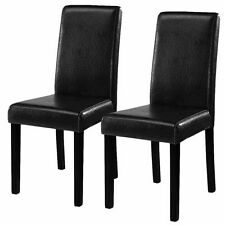 Set of 2 Black Elegant Design Leather Contemporary Dining Chairs Home Room