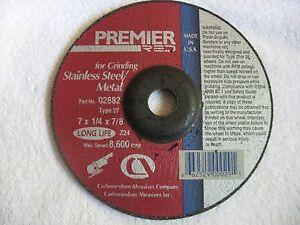 "Carborundum Premier Red 7"" x 1/4""x 7/8"" Grinding Wheel for Metals Type 27 Disc"