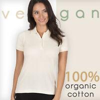 Ladies Polo Shirt Cream Beige 100% Organic Cotton Vegan Short Sleeve Pique Tops