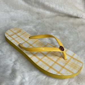 Tory Burch Sunlight Yellow Check Plaid Flip Flops 7