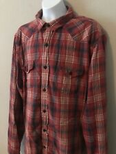 LUCKY BRAND California Mens Classic Fit Plaid Long Sleeve Dress Shirt Size Large