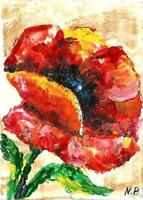 ACEO abstract poppy red flowers original painting acrylic canvas art card signed