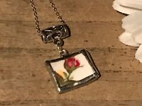 Recycled Broken Porcelain Jewelry, Royal Albert Old Country Roses Pendant
