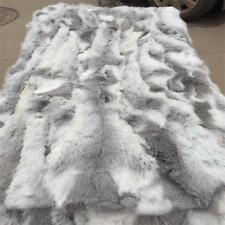 100% Genuine Rabbit Fur Throw Patchwork Blanket Winter Soft Warm Real Leather