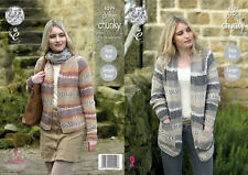 Easy Knit Long or Short Cardigans Ladies Chunky Knitting Pattern King Cole 4599