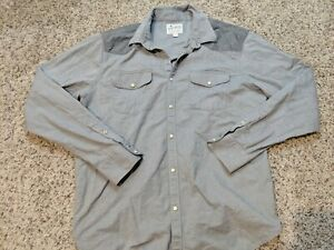 Lucky Brand Saturday Stretch Gray Pearl Button Snap Men's Large Shirt Classic
