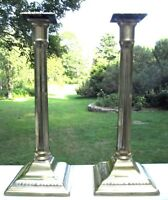 "Good Pair of 10½"" Tall English Brass Columnar Candlesticks with Bobeches c. 1780"