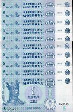 Moldova 5 Lei 2015 P 9 UNC LOT 10 PCS