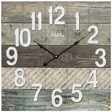 AMS 9570 Wanduhr Quarz analog Holz viereckig quadratisch Breite ca. 50 cm