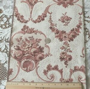 """Antique Vintage French Peach Rose Cotton Tapestry Sample Fabric~L-36""""X W-12"""""""