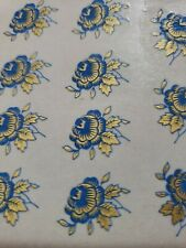 Ceramic decals China blue/gold flower 3/4 bits