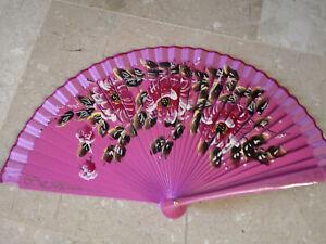 Spain Flamenco Hand Fan Case Fan Folding Fan Wooden C Pink