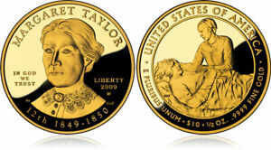 2009-W Margaret Taylor First Spouse 1/2 Oz 9999 Proof Gold $10 Coin w Box (JAB)