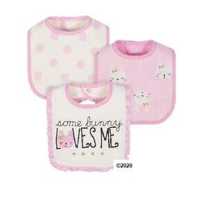 Gerber Just Born Baby Girl 3-Piece Organic Cotton Pink Bunny Bibs