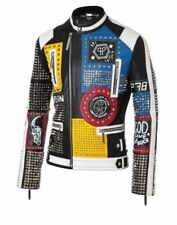 New Philipp Plein Multicolor Full Studded Embroidery Patches Leather jacket