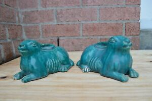 A PAIR OF CHINESE TURQUOISE RABBITS, 19TH CENTURY