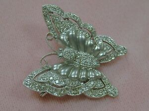 FINE ESTATE 1.00CT NATURAL DIAMOND FILIGREE BUTTERFLY PIN/BROOCH~14K WHITE GOLD