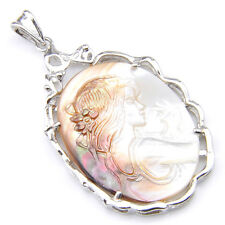 Natural Handmade woman Carved Cameo Shell Gemstone Silver Necklace Pendant