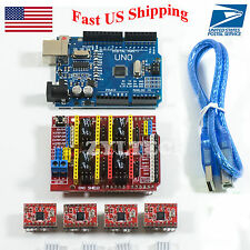 US Ship Arduino CNC kit UNO R3 + Shield + 4 x A4988 Drivers