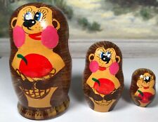 """Nesting Dolls """"Russian� Wood. Painted As Porcupine Animal 3 Darling! 1.25-3.5�"""