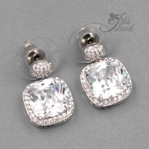 18K White Gold Plated Cubic Zirconia CZ Wedding Square Drop Dangle Earrings 8640