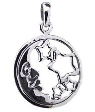 CRESCENT MOON and STARS PENDANT 925 Sterling SILVER 20mm Diameter :
