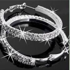 Women Silver Plated Diamante Crystal Rhinestone Big Hoop Circle Earring