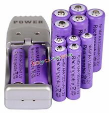6x AA 3000mAh + 6x AAA 1800mAh Rechargeable Battery 1.2V Purple + USB Charger