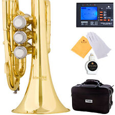 NEW GOLD LACQUER BRASS MINI/ POCKET Bb TRUMPET+TUNER