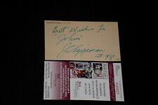 J.C. AGAJANIAN SIGNED AUTOGRAPHED INDEX CARD JSA CERT. RACING (d.1984) RARE!